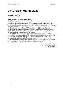 Livret de prière 2020 - French Prayer Booklet