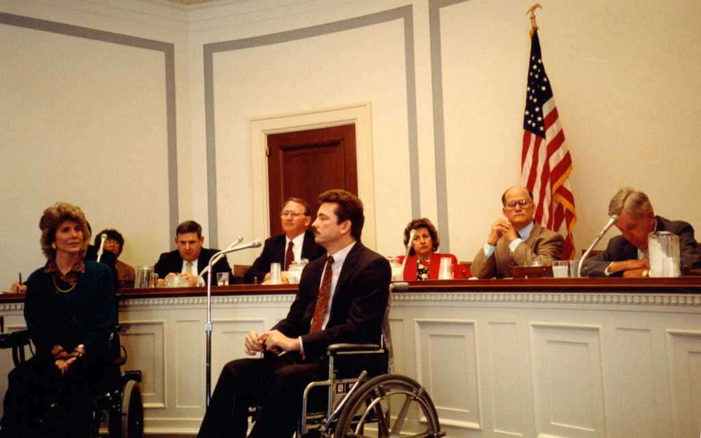 Tada (left), advocating for disability education and outreach on Capitol Hill in Washington, D.C.